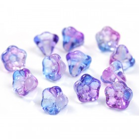 Gebrande Tsjechische glaskralen flower purple - blue