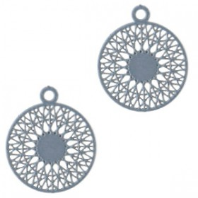 Hangers bohemian rond met oog 18mm Dark cloud blue