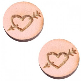 Basic houten cabochon 12mm heart&arrow Pink