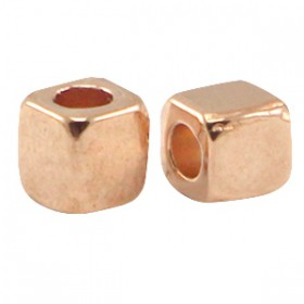 DQ Metalen spacer rose gold Cube 3mm