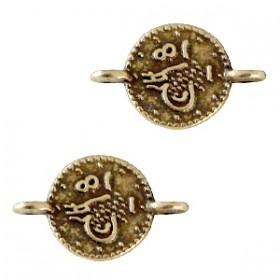 Bedels DQ metaal tussenstuk muntjes Antiek brons (nikkelvrij)