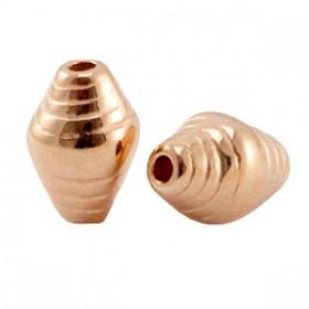 DQ metaal kraal striped cone Rosegold (nikkelvrij)