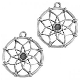 DQ metalen bedels dreamcatcher (voor Swarovski SS16 flatback) Antiek zilver (nikkelvrij)