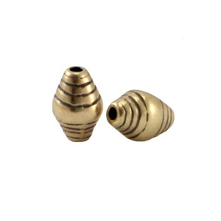 DQ metaal kraal striped cone Antiek brons (nikkelvrij)