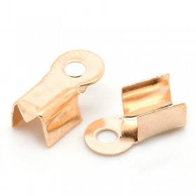Veterklemmetjes 9x4mm rose gold voor touwen/veters