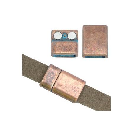 DQ metaal magneetslot (voor DQ leer plat 10mm) Koper patina (nikkelvrij)