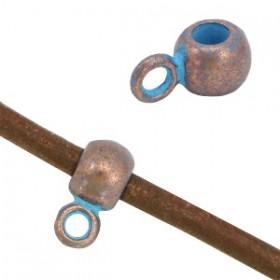 DQ Ring met oog voor 2mm leer Koper patina ( nikkelvrij )