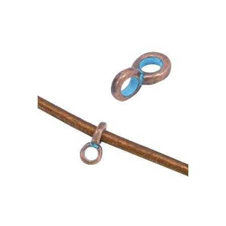 Metalen DQ hanger met oog (voor 2mm leer) Koper patina (nikkelvrij)