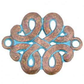 DQ metalen tussenstuk barok klaver Koper patina (nikkelvrij)