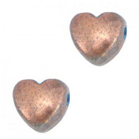 DQ metaal kraal hart Koper patina (nikkelvrij)