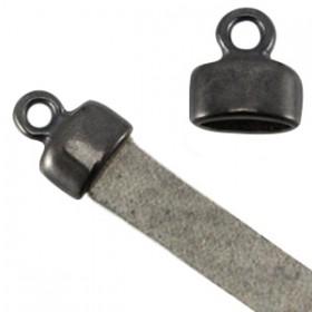 DQ metaal eindkapje met oog (voor 5mm plat leer) Antraciet (nikkelvrij)