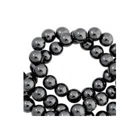 Hematite kralen rond 4mm Anthracite grey