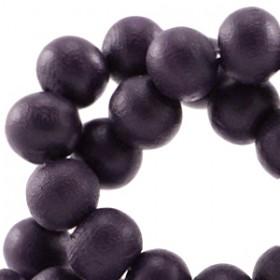 Houten Kralen Rond 6mm Dark aubergine purple