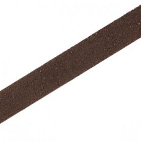 DQ leer suède plat 10mm Dark chocolate brown