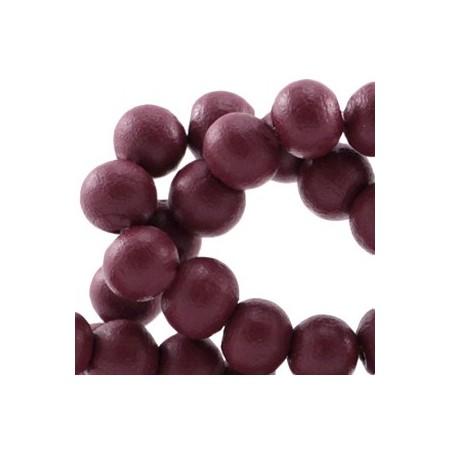 Houten Kralen Rond 8mm Aubergine red