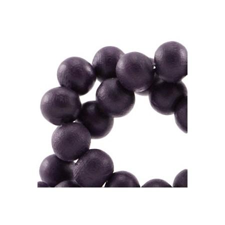 Houten Kralen Rond 8mm Dark aubergine purple
