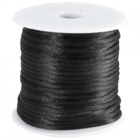 Satijnkoord 2mm zwart