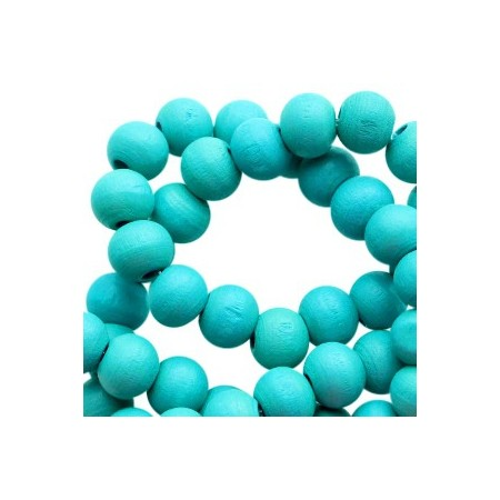 Houten Kralen Rond 6mm Dark teal turquoise blue
