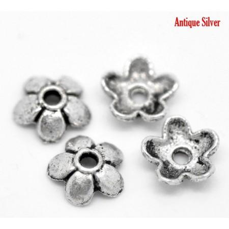 Kralenkapje Antiek Zilver 6x6mm
