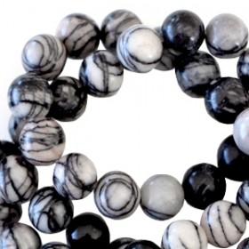 Half edelsteen kralen rond 6mm Net stone black-off white