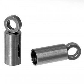 Endcaps 304 Stainless steel zilverkleur 7.5x2.5mm