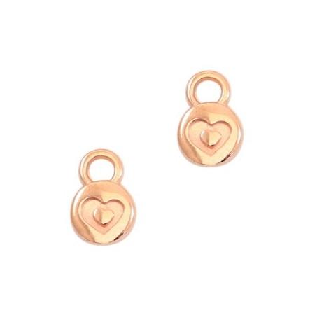 DQ metaal bedel rond 6mm heart Rose gold (nikkelvrij)