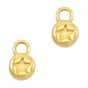 DQ metaal bedel rond 6mm star Gold (nikkelvrij)