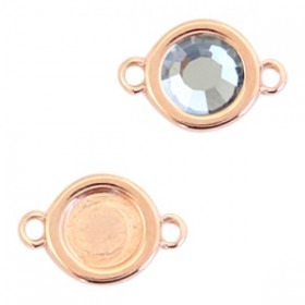 DQ metalen setting rond met 2 ogen 1voor SS30 flatback Rosé goud (nikkelvrij)