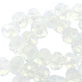 Top facet kralen 4x3 mm disc White opal