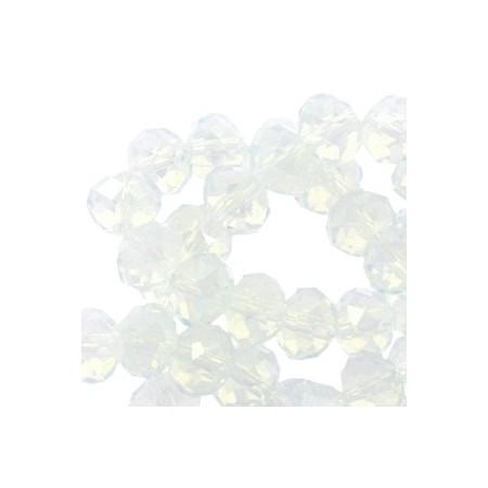 top facet kralen 6x4mm disc White opal