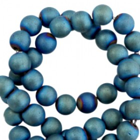 Hematite kralen rond 8mm mat Dynamic blue