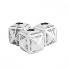 TQ metalen kralen cube 10mm Antiek zilver