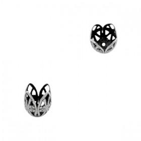 TQ metalen kralenkapje bloem voor 10mm kraal Antiek zilver