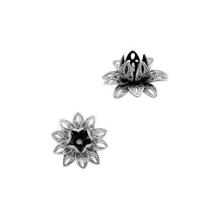 TQ metalen bedel lotus Antiek zilver