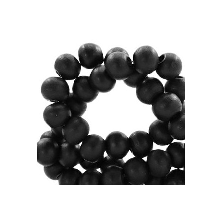 Houten Kralen Rond 6mm Black