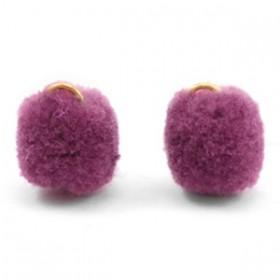 Pompom 1.5cm met gouden oog Heather purple