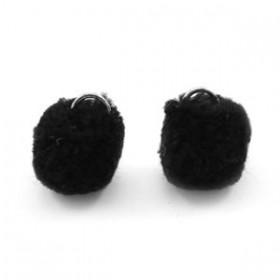 Pompom 1.5cm met zilveren oog Black
