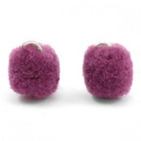 Pompom 1.5cm met zilveren oog Heather purple