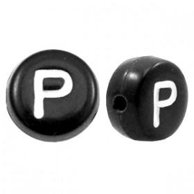 Acryl letterkraal rond P zwart