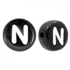 Acryl letterkraal rond N zwart