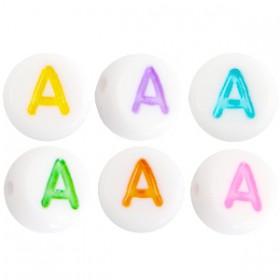 Acryl letterkraal rond A gekleurd