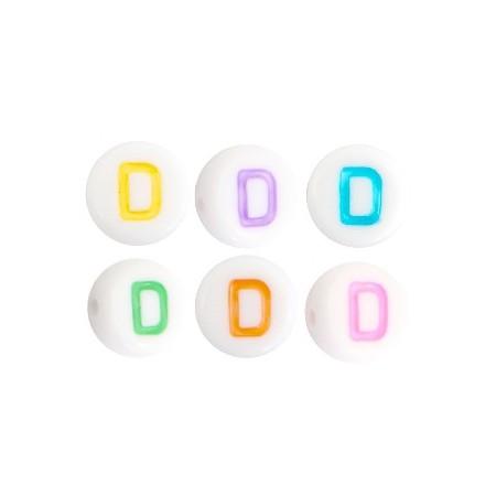 Acryl letterkraal rond D gekleurd
