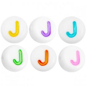 Acryl letterkraal rond J gekleurd