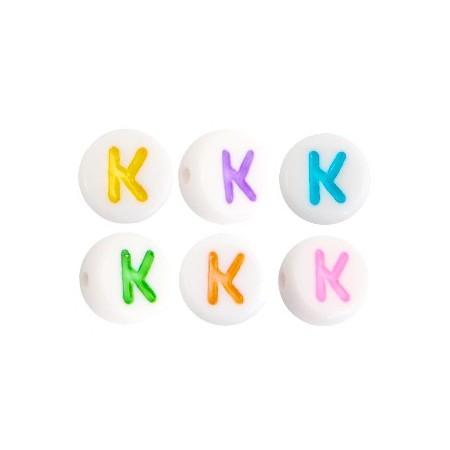 Acryl letterkraal rond K gekleurd