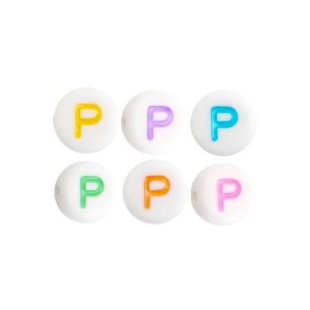 Acryl letterkraal rond P gekleurd