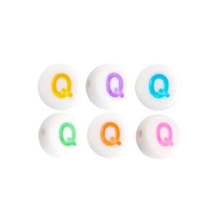 Acryl letterkraal rond Q gekleurd