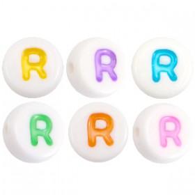 Acryl letterkraal rond R gekleurd