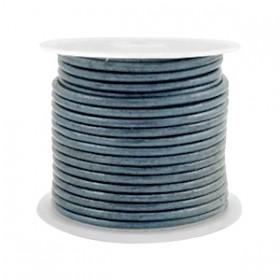 DQ leer rond 3 mm Haze blue metallic