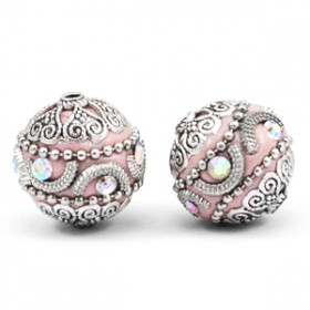 Bohemian kraal 20mm Light pink-silver