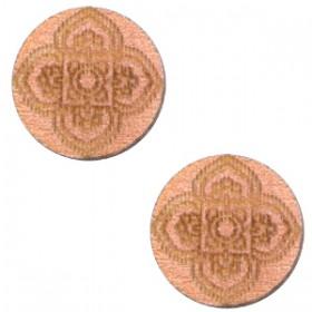 Basic houten cabochon 12mm mandala design Rosegold